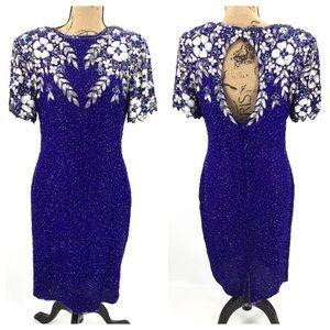 VINTAGE STENAY Dress 10 Sequins Blue Silver Floral